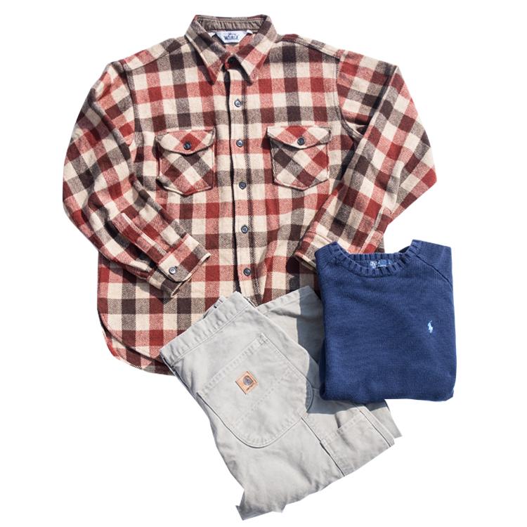 ラルフローレンコットンニットセーター、ウールリッチのウールシャツ、カーハートのペインターパンツ。