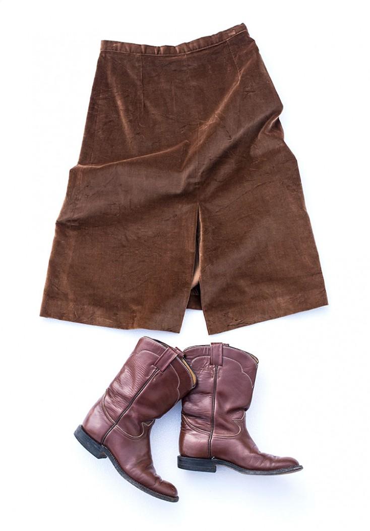 ハーフスカート コーデ ベロア Aライン 70年代ファッション 古着