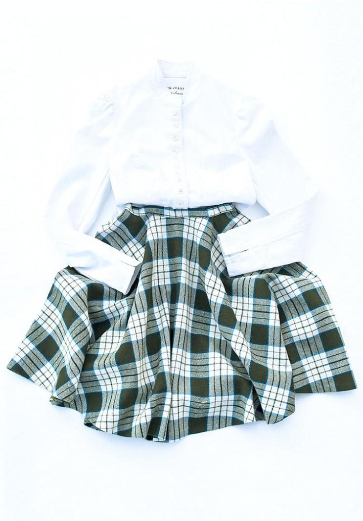 ハーフスカート コーデ チェック フレア 60年代ファッション 古着