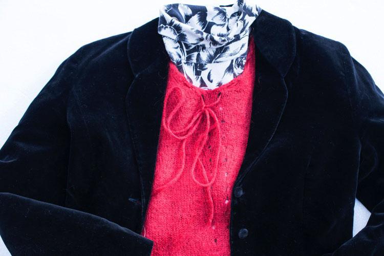ベロア ジャケット ニットセーター