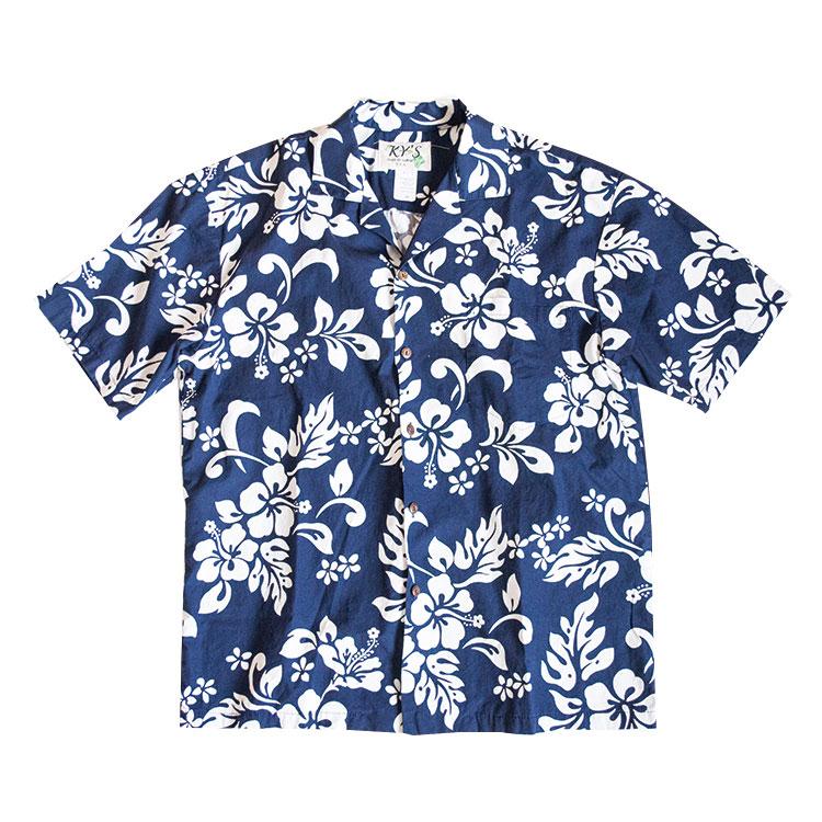 アロハシャツ 花柄 青 メンズ ブランド 古着