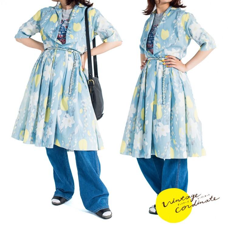 ヴィンテージ ワンピース デニムパンツ パンプス レディース 古着 コーデ コーディネート ファッション 春コーデ 春ファッション