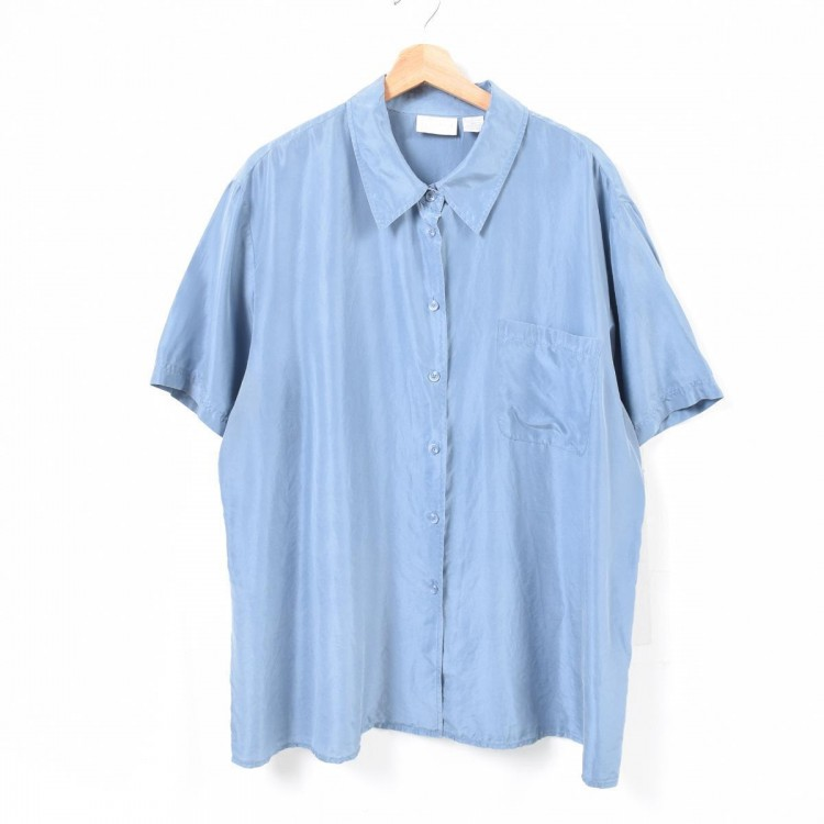 シルクシャツ ブルー