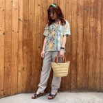【scarf / rayon shirt / slacks pants / sandal / basket bag】