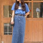 ラメTシャツ×ロングデニムスカート 古着屋JAM京都レディース店