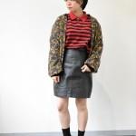 柄ブルゾン×ラガーシャツ×レザースカート