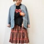* 70sスカート × カレッジスウェット * 古着屋JAM JAM京都レディース店