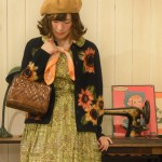 *sunflower cardigan & 60s one-piece*