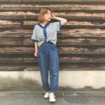 ノーカラーシャツ × ランチパンツ メンズレディースMIXスタイル