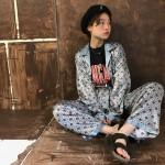 チャンピオンTシャツ × サテンパジャマ セットアップ