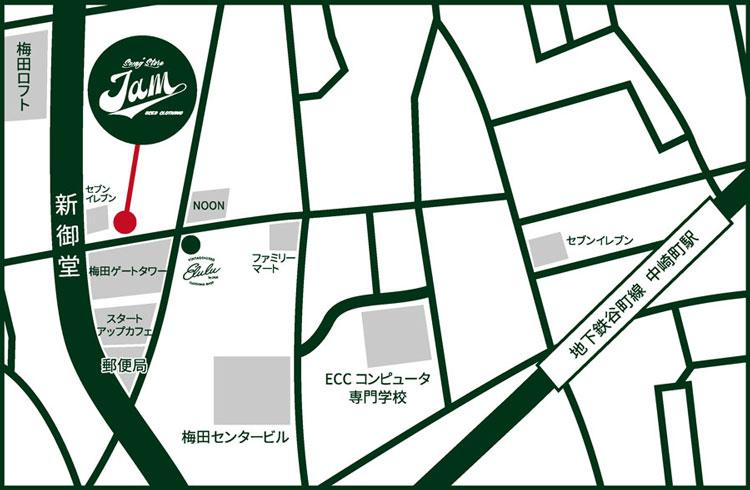 Elulu by JAM 梅田店 地図
